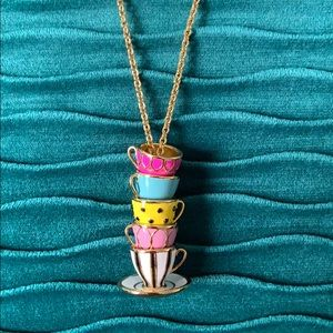 kate spade Tea Time long gold necklace